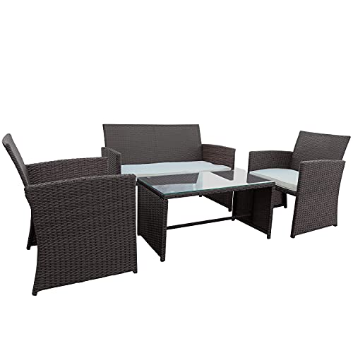 KAWIVAST Patio Furniture Sets 4 Pieces, Outdoor PE Rattan Wicker Chair with Tempered Glass Top Coffee Table, Conversation Bistro Sets Suitable for Patio Garden Lawn Backyard Pool (Brown+Beige)