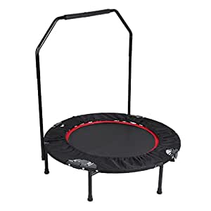 """Belovedkai 40"""" Foldable Rebounder Trampoline with Hand Rail Bouncing Workout Training Exercise"""