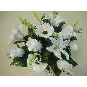 "JumpingLight White Mixed Rose Daisy Lily Bush Artificial Silk Flowers 15"" Bouquet 12-293WT Artificial Flowers Wedding Party Centerpieces Arrangements Bouquets Supplies"