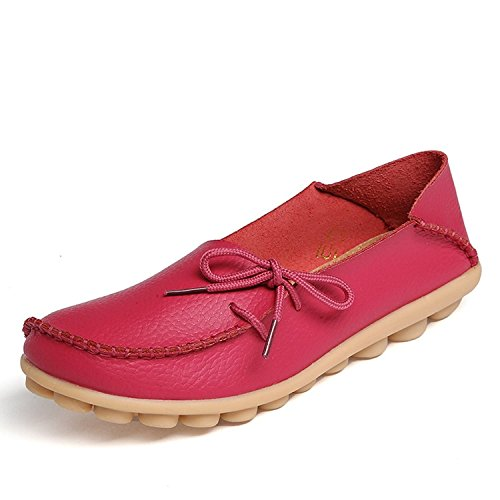 FAYALE Women Comfortable Lace-Up Loafer Hand made Flats Pumps Rose Red 4DE77B5x