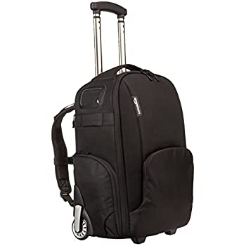 Image of AmazonBasics Convertible Rolling Camera Backpack Bag - 15 x 22 x 10 Inches, Black Camera Cases