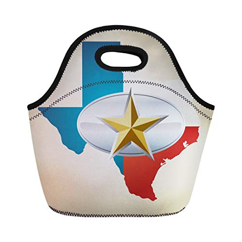 Semtomn Lunch Tote Bag Blue Texas Flag and State Shape Star Belt Buckle Reusable Neoprene Insulated Thermal Outdoor Picnic Lunchbox for Men Women ()