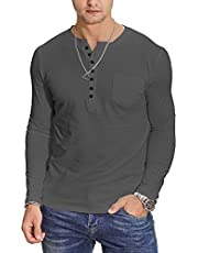 YTD Mens Fashion Casual Long Sleeve Henley T-Shirts Cotton Shirts with Pocket