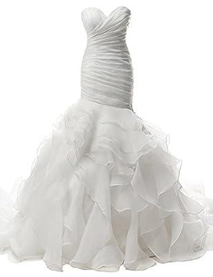 JAEDEN Mermaid Wedding Dresses Strapless Pleat Ruffles Sweetheart Bridal Gown Trumpet