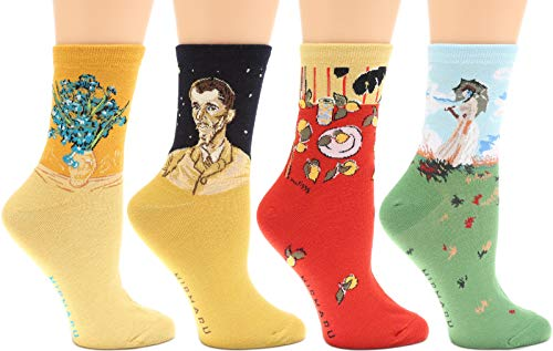Women's 4 Pairs Novelty Crew Socks by MIRMARU | Colorful, Crazy, Funny, Casual, Famous Painting Art Printed Cotton Socks (W-L-187)