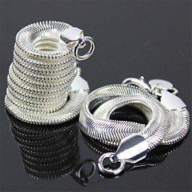 925 Silver Flat Snake Necklace Flat Snake Bracelet Set - 8