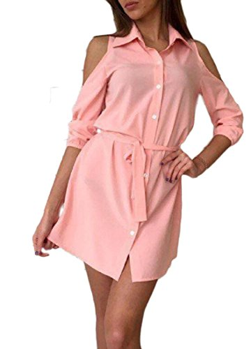 Dress Coolred Chiffon Lapel Bodycon Shoulder Off Strappy Women Pink SqpSw0