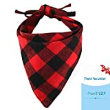 EYLEER Pet Dog Bandana 100% Cotton Reversible Triangle Plaid Bibs Scarf Dog Kerchief Accessories for Medium Large Dog Puppy(L Size) (Red/Black)