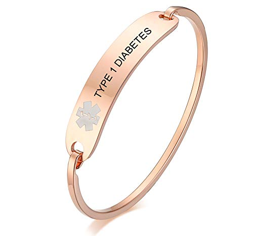 (VNOX Free Engraving-Stainless Steel Medical Alert ID Bangle Bracelet,Gold Plated/Silver,7.4