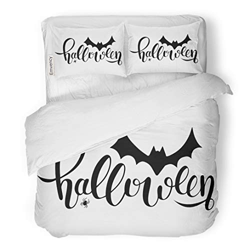Emvency Bedding Duvet Cover Set Hand Sketched Lettering Halloween Bat and Spider Drawing Modern Brush Party As Scary Celebration 3 Piece King 104