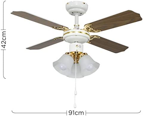 MiniSun - Ventilador de techo con luz Hawker - de diseño vintage ...
