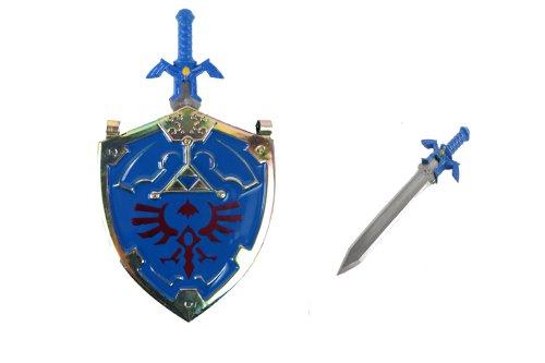 Blue zelda shield and sword necklace knife YC9012-BL (Medieval Foam Larp Shield)