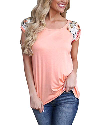 Womens Short Sleeve Tops Color Block Floral Shirts Casual Tunic Blouse XXL Pink