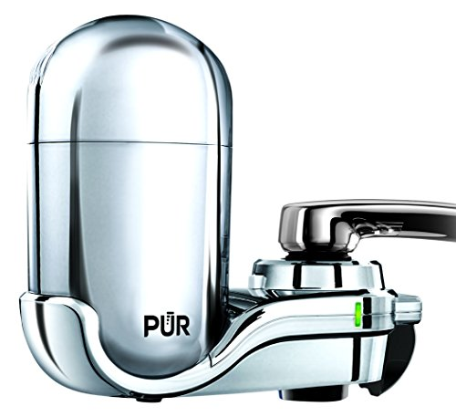 PUR Advanced Faucet Water Filter, Chrome, Vertical, LED Indicator for Filter Status, Carbon Filter Lasts Up to 3 Months (100 gal.), Fits Standard Faucets, Easy Installation No Tools Required, FM-3700B by PUR