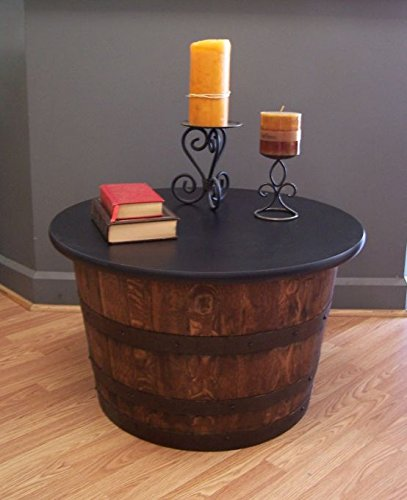 Amazoncom Real Half Whiskey Barrel Coffee Table End Table Kitchen
