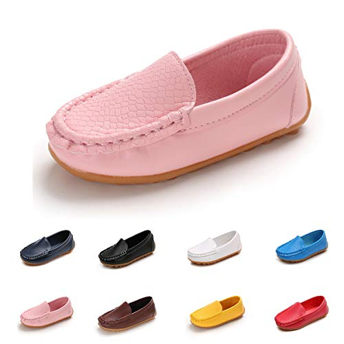 E-FAK Toddler Boys Girls Soft Synthetic Leather Loafers Slip On Boat Dress Shoes Flat (Toddler/Little Kid/Big Kid)(6 M US Toddler,Pink)
