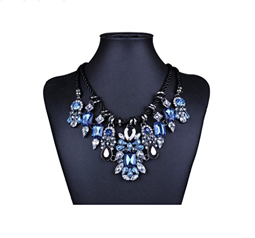 Adorable Woman Chunky Black Rope Dangle Rhinestone Faceted Charms Flower Bib Choker Necklace