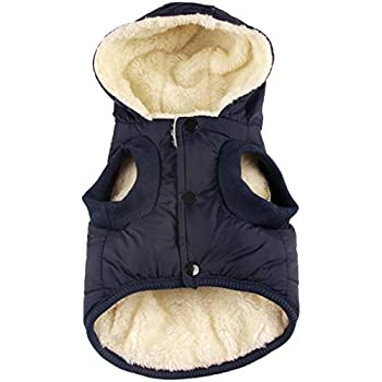 vecomfy Fleece and Cotton Lining Extra Warm Dog Hoodie in Winter for Small Dogs Jacket Puppy Coats with Hooded,Blue M