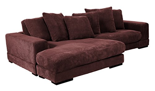 Moes Home Collection Plunge Reversible Sectional Sofa, Dark Brown