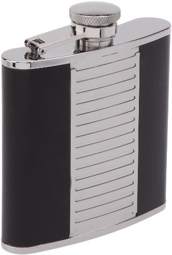 Keen Sport 11604 150 ml Stainless Steel and Black Leather Hip Flask Bayonet Cap