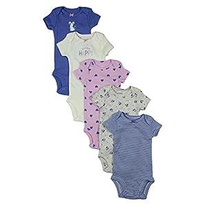 Carter's Baby Girls 5 Piece Short-sleeve Bodysuits (Super Happy)
