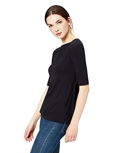 Daily Ritual Women's Rib Knit Jersey Elbow-Sleeve Boat Neck Shirt, L, Navy - Rayon Rib Knit