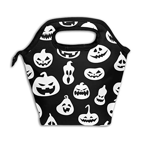 Wucancanbb Halloween with Pumpkins Black Lunch Tote,Thick Reusable Insulated Thermal Lunch Bag Lunch Box Carry Case Handbags Tote with Zipper for Adults Kids Nurse Teacher Work Outdoor Travel Picnic