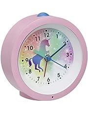 TFA Dostmann analog barnväckarklocka, väckarklocka för barnrum med enhörning, nattlampa, svepandet urverk, tyst väckarklocka, 60.1033.06, rosa