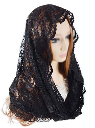 Pamor Infinity Floral Veils Scarf Catholic Church Veil Head Covering Latin Mass Lace Mantilla with Free Hairclip -
