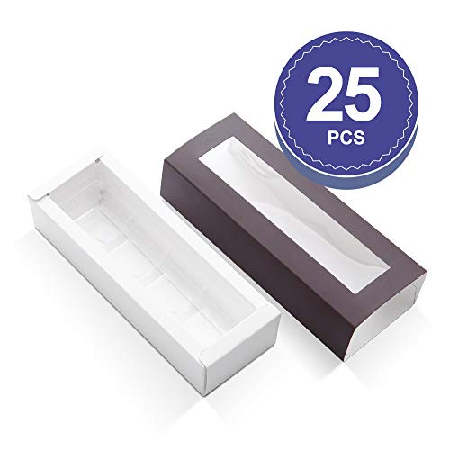 BAKIPACK Truffle Boxes, Chocolate Boxes, Candy Box Packaging with 4-Piece Plastics Tray(Tray Size with 5.75x1.25 Inches), Pull Out Packing with Clear Window Sleeves, Dark Brown 25 PCS