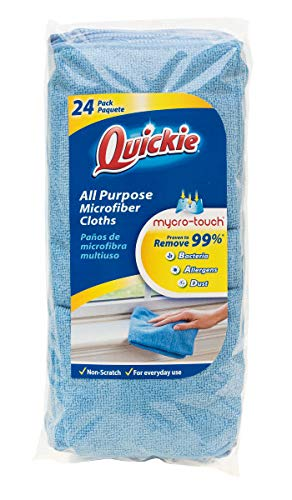 (Quickie General Purpose Microfiber Cleaning Cloth - Reusable 24 Pack (49024RM), Blue )