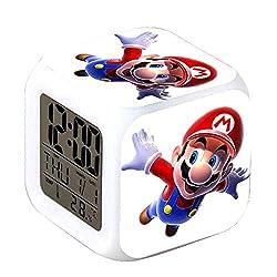 ASLNSONG Super Mario Bros 7 Colors Change Digital Alarm Clock with Time, Temperature, Alarm, Date (B)