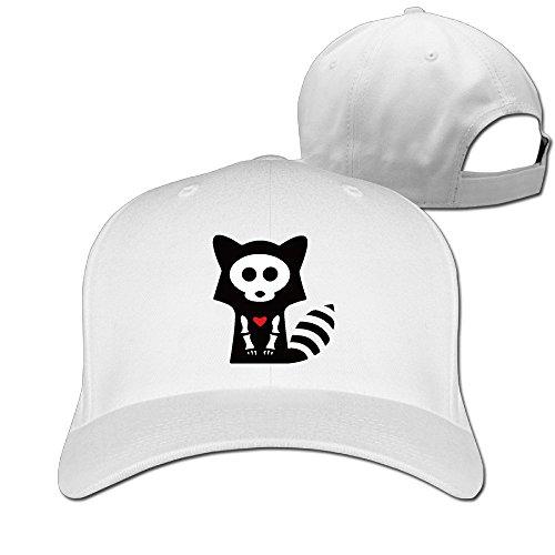 Funny Raccoon Bone Skeleton Flex Fitted Ajustable Peak Cap White (Halloween Gladiator Accessories)