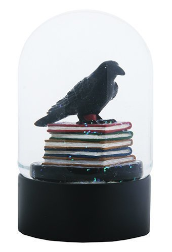 Quoth the Black Raven Standing on a Stack of Books Water Globe -