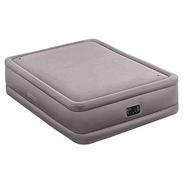Intex Queen Raised Air Bed Foam Top Mattress with Build in Air Pump (64467E)