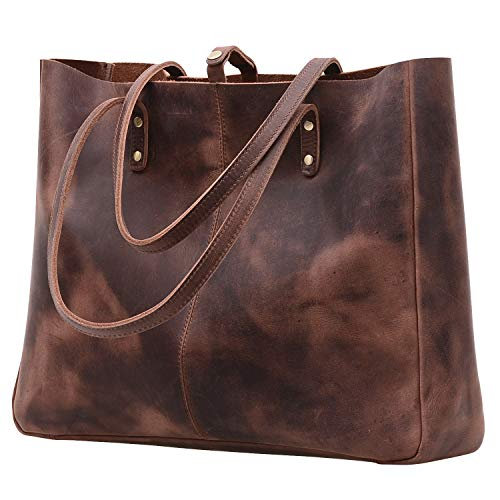 Jack&Chris Vintage Natural Genuine Leather Handbag Large Tote Bag Shoulder bag for Women, MC509-4 (Natural Leather Tote)