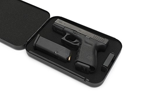 AdirOffice Portable Travel Gun Safe - Pistol Lock Box - Handgun Case - Black (Key Lock)
