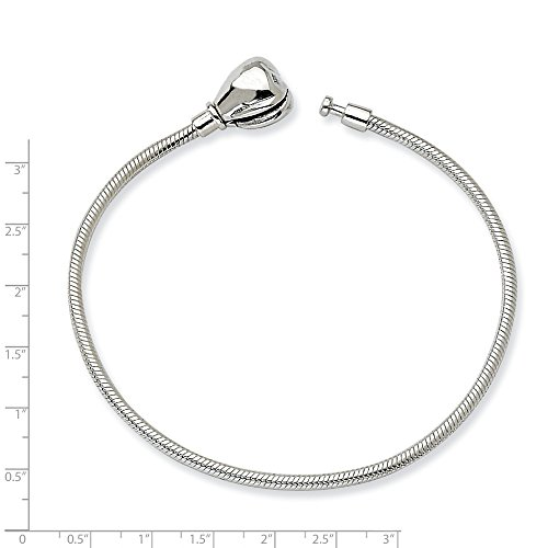 Hinged Slide Pendant (Solid .925 Sterling Silver 14cm Reflections Kids Hinged Clasp Bracelet 5.5 inches)