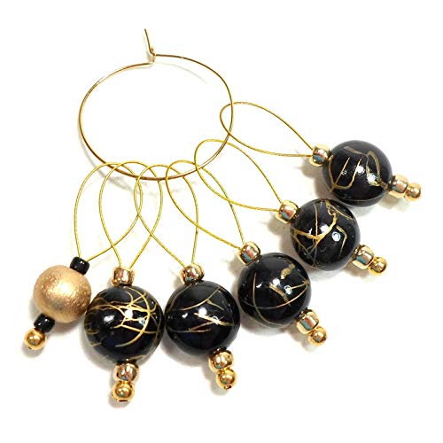 Black, Gold Handmade Beaded Stitch Markers