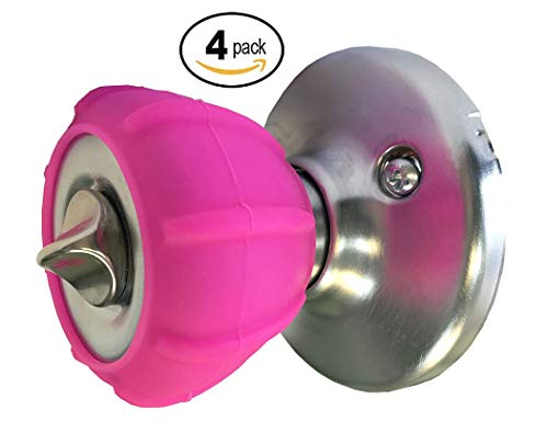 New Enjoy Cover - Door Knob Cover Grips Non Slip Arthritis & Senior Living Aids Grippy Easy Open Decorative. Simple Functional Effective Solution- 4 Pack (Hot Pink, Tylo)