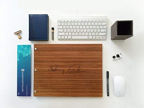 "Sleekportfolio Bamboo Amber 11""x14"" Screw post Presentation Book, Landscape Format Portfolio Case 100% Bamboo."