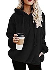 Dam Fuzzy Hoodies Pullover Sport Hoodie Mysiga Oversized Fickor Hooded Sweatshirt Athletic Fleece Hoodies