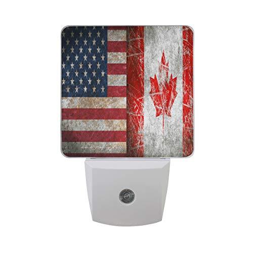Linomo LED Night Light Vintage American Flag Maple Leaf, Auto Senor Dusk to Dawn Night Light Plug in for Kids Adults Boys Girls Room Decor, 2 Pack