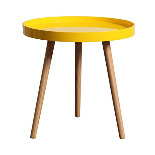 YONGLIANGgy Small Round Table, Mini Side, Several Rounds, Round Coffee Table, Nordic Small Coffee Table, Yellow, Pine Legs (Color : Big circle) ()