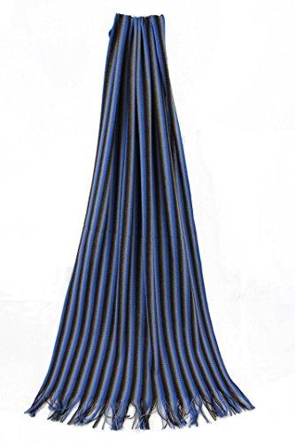 Rotfuchs Scarf, Striped, Blue Brown Multicolor, 100% Wool -