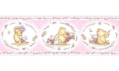 Imperial Disney Home DF059322B Pooh Classic Wall Border, Pastel Pink, 6.83-Inch - Border Pooh Classic