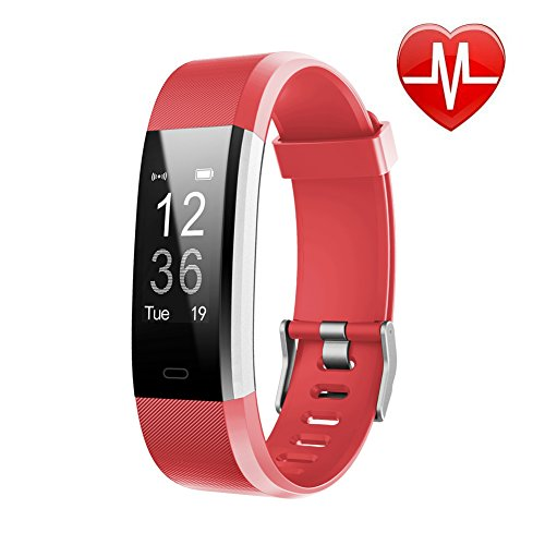 Busezy Fitness Tracker Child Female and Male Pedometer Smart Message Reminder Calorie Pedometer red Activity Tracker with Heart Rate Monitoring and Sleep Monitoring