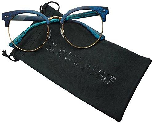 Round Wood Print Oversized Half Frame Gold Metal Clear Flat Lens Eye Glasses (Blue, - Frames Eyeglass Rimless Round