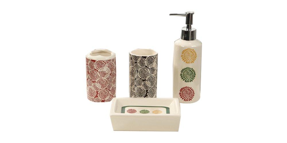 Indecor Home CS11-1210-IV 4 Piece Ceramic Burst of Fall Bath Set - Lotion Pump Toothbrush Holder Bathroom Tumbler - bathroom-accessory-sets, bathroom-accessories, bathroom - 41aVMeg16JL -
