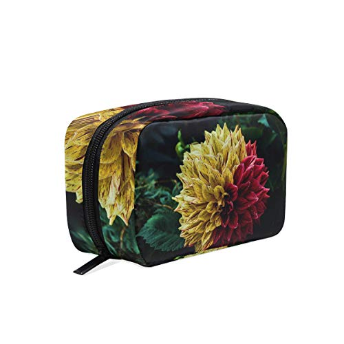 Cosmetic Makeup Bag Pouch Yellow Red Decorative Dahlia Flower Clutch